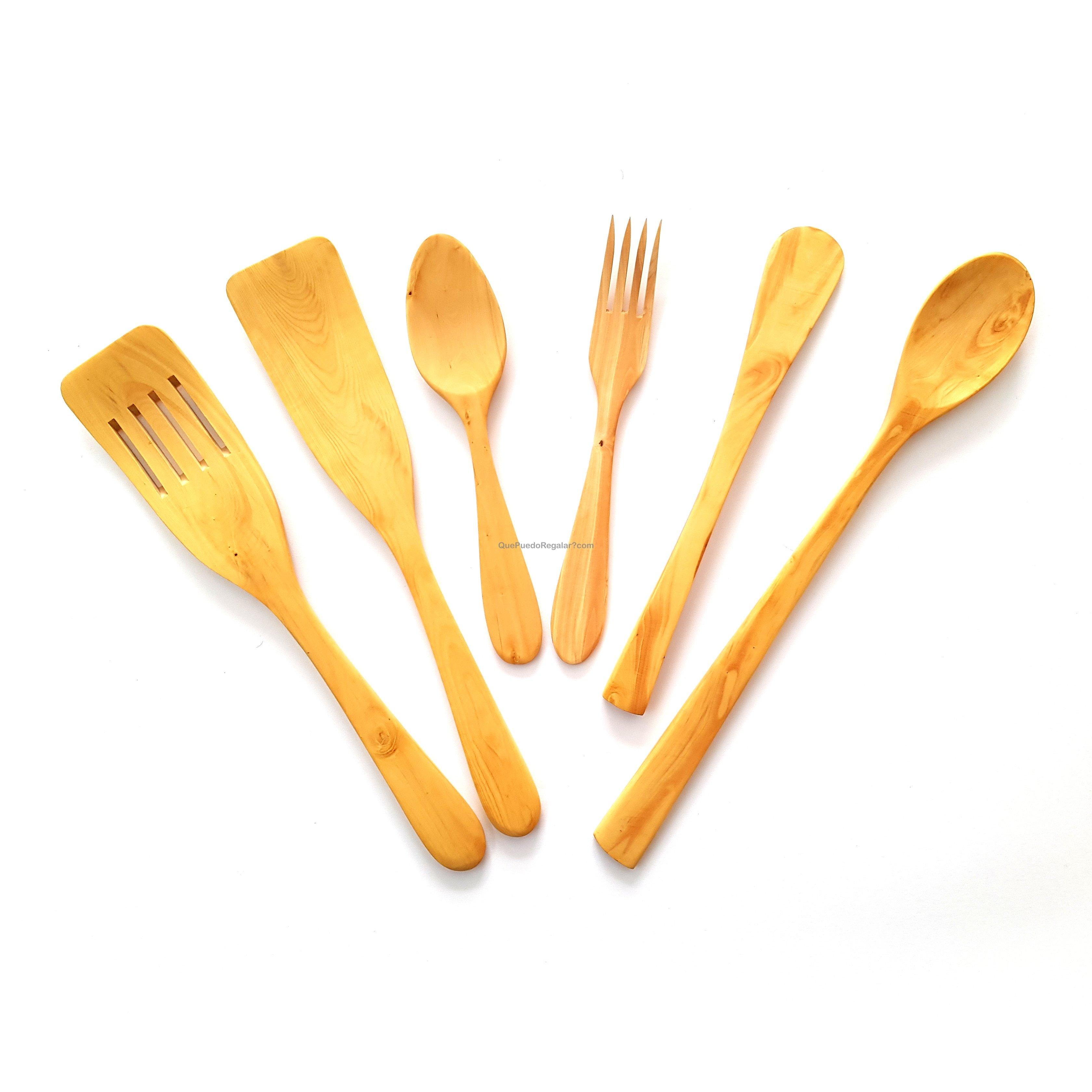 Juego de utensilios cocina madera boj chef palas y for Utensilios de cocina para regalar