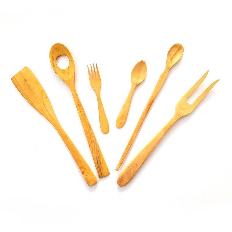 Juego de utensilios cocina madera boj original palas y for Utensilios de cocina originales