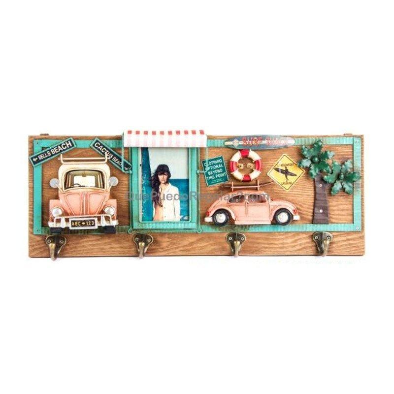 Perchero pared con marco foto (color madera)   Regalos Originales ...